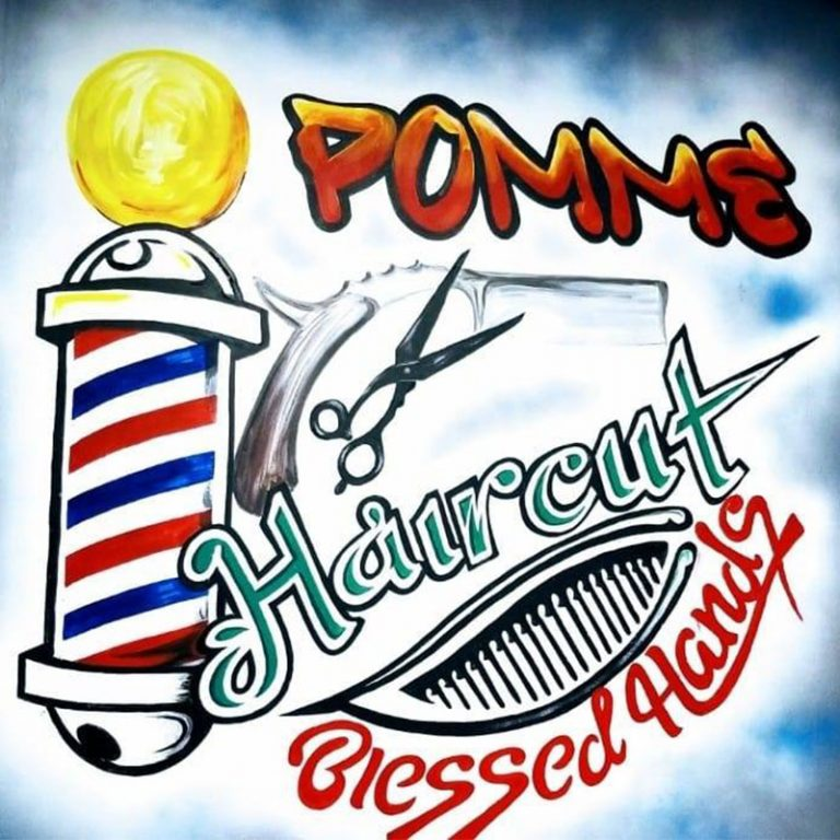 Pomme Haircut Logo with background